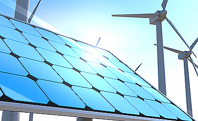 Wind turbines and solar panels. Blue sky background. 3D rendering